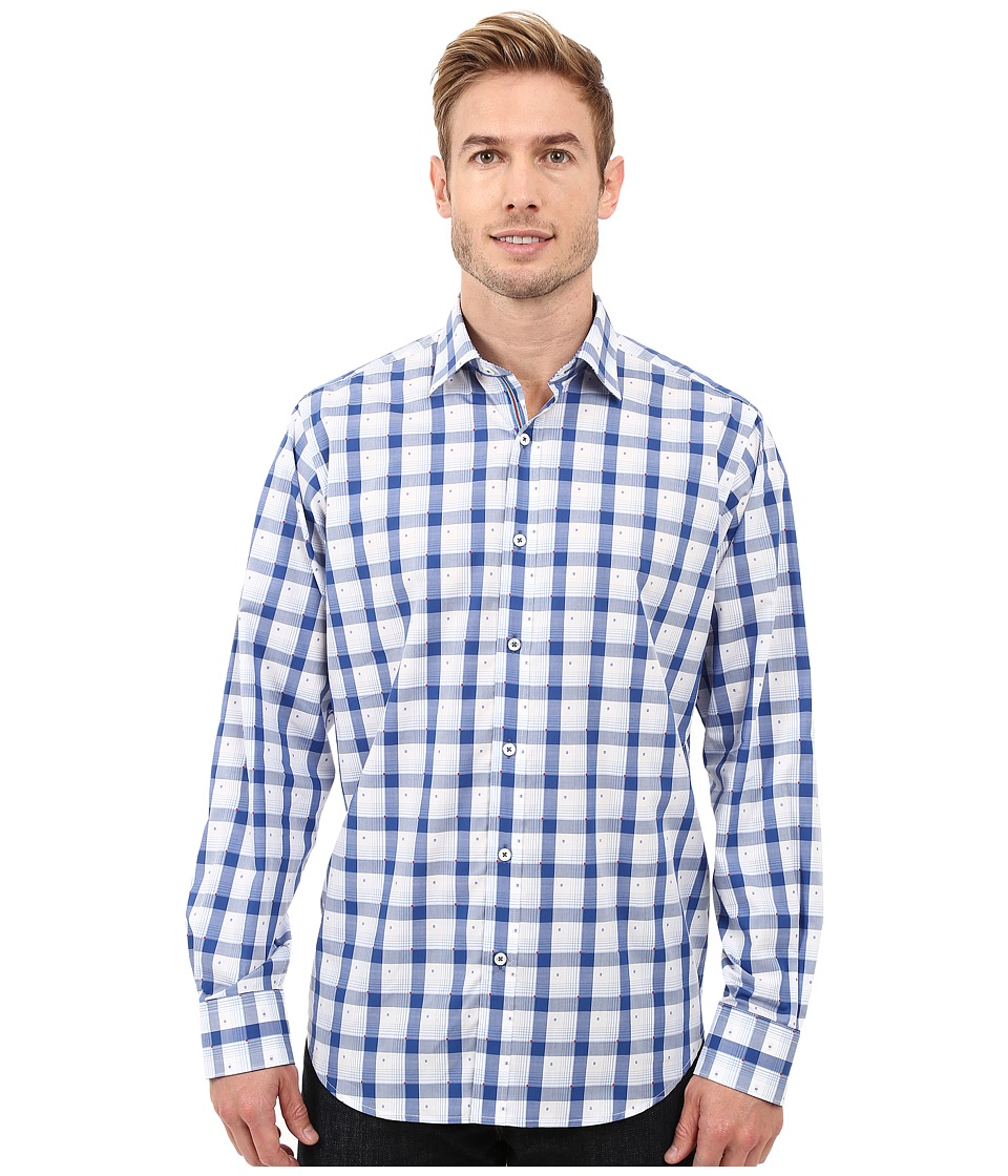 BUGATCHI - Parima Classic Fit Long Sleeve Woven Shirt (Classic Blue) Men's Long Sleeve Button Up