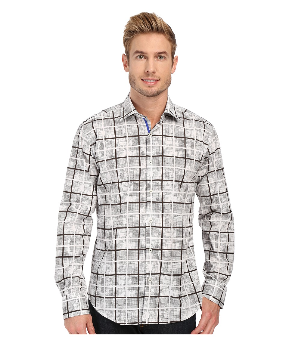 BUGATCHI - Palermo Shaped Fit Long Sleeve Woven Shirt (Chalk) Men's Long Sleeve Button Up