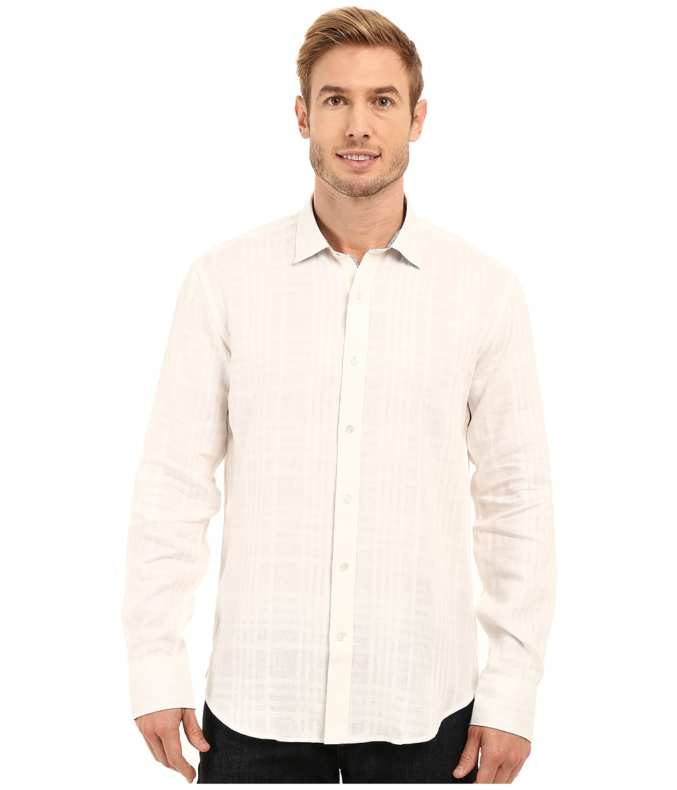 BUGATCHI - Tuscany Shaped Fit Long Sleeve Woven Shirt (White) Men's Long Sleeve Button Up