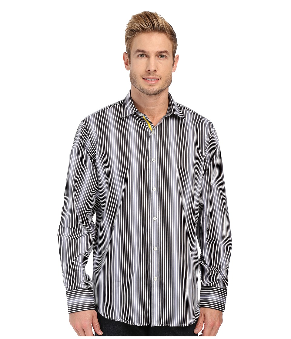 BUGATCHI - Vegas Classic Fit Long Sleeve Woven Shirt (Black) Men's Long Sleeve Button Up