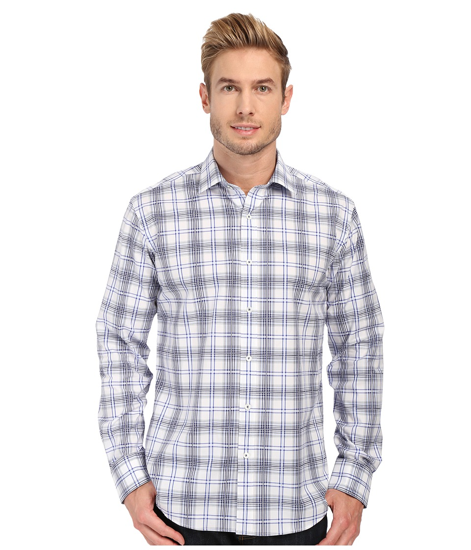 BUGATCHI - Fairbanks Shaped Fit Long Sleeve Woven Shirt (Classic Blue) Men's Long Sleeve Button Up