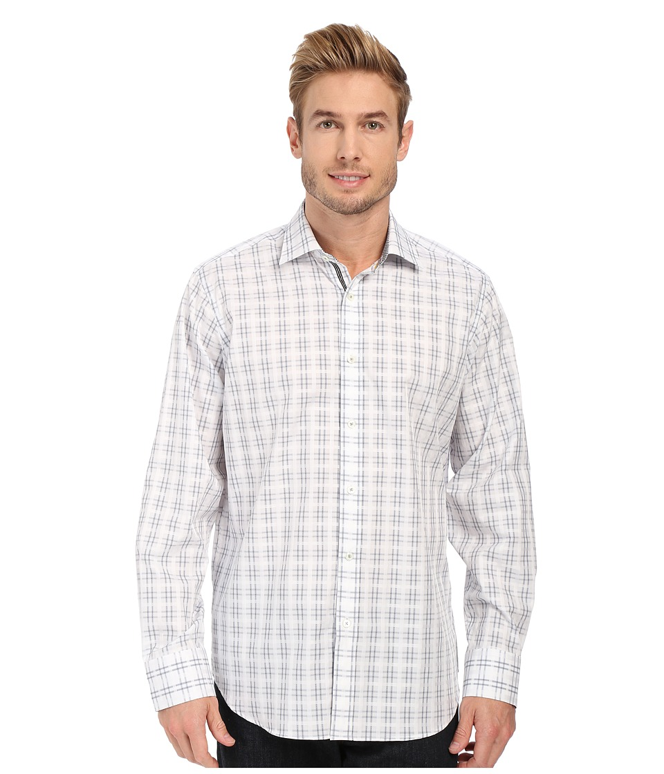BUGATCHI - Naples Classic Fit Long Sleeve Woven Shirt (Platinum) Men's Long Sleeve Button Up