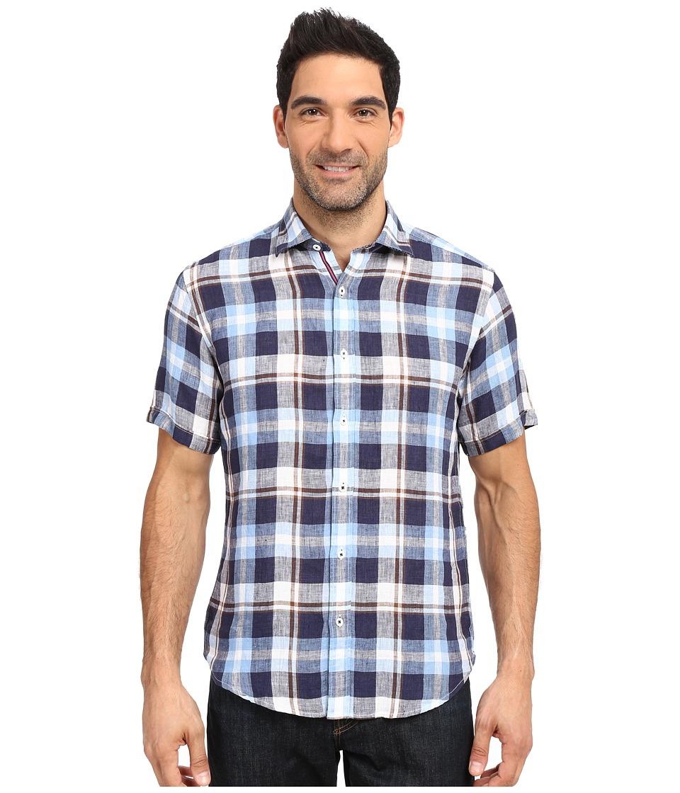 BUGATCHI - Dunes Shaped Fit Short Sleeve Linen Shirt (Navy) Men's Short Sleeve Button Up