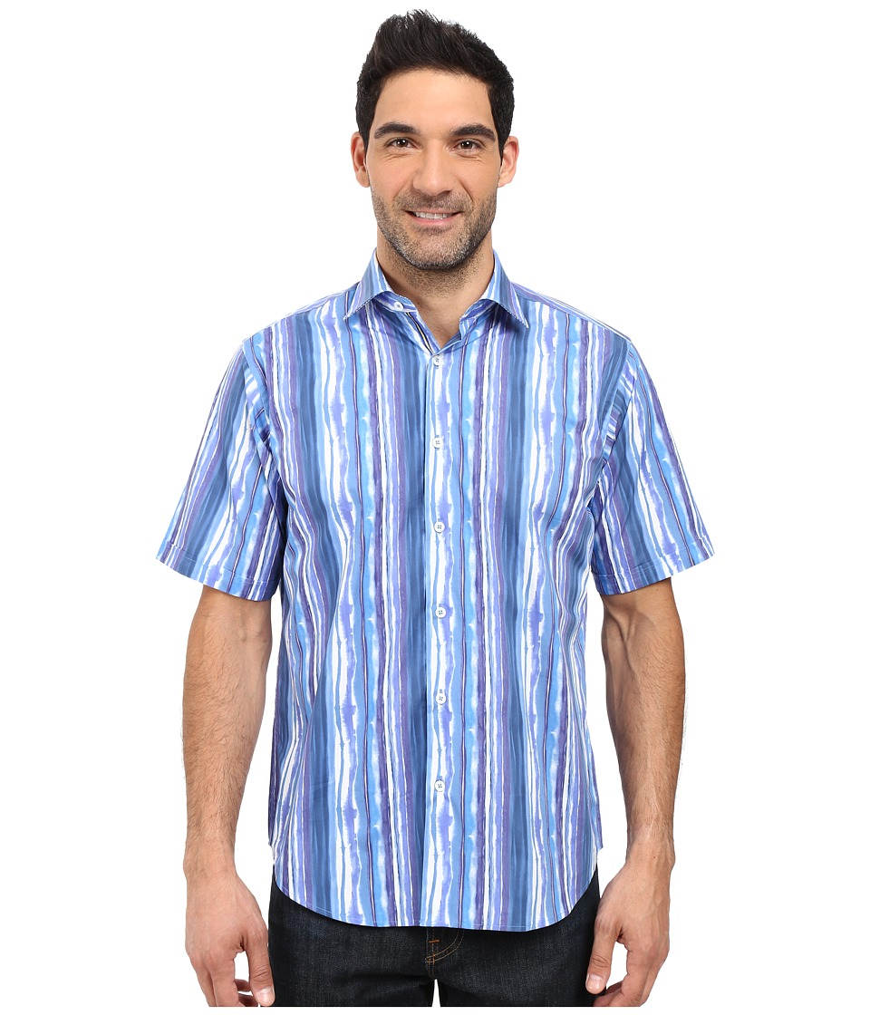 BUGATCHI - Watercolor Classic Fit Short Sleeve Woven Shirt (Classic Blue) Men's Short Sleeve Button Up