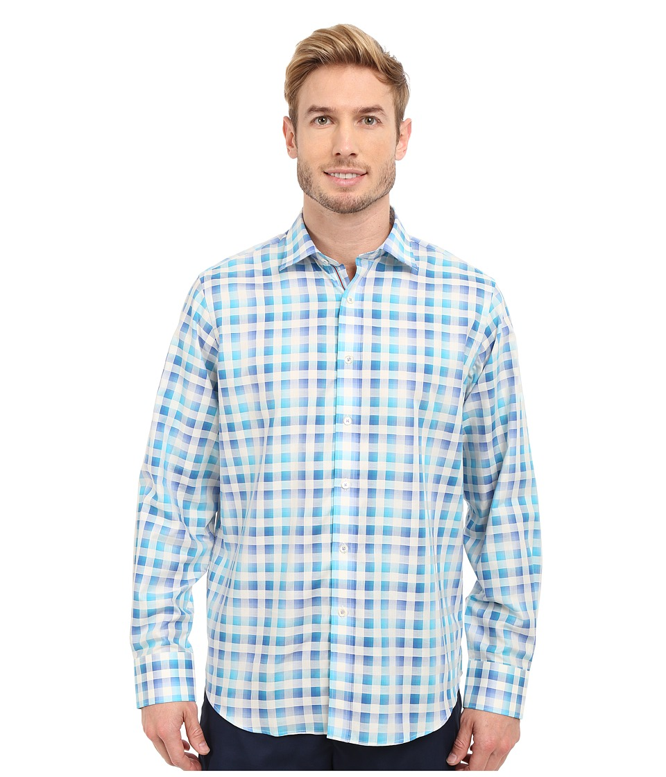 BUGATCHI - Amalfi Classic Fit Long Sleeve Woven Shirt (Teal) Men's Long Sleeve Button Up