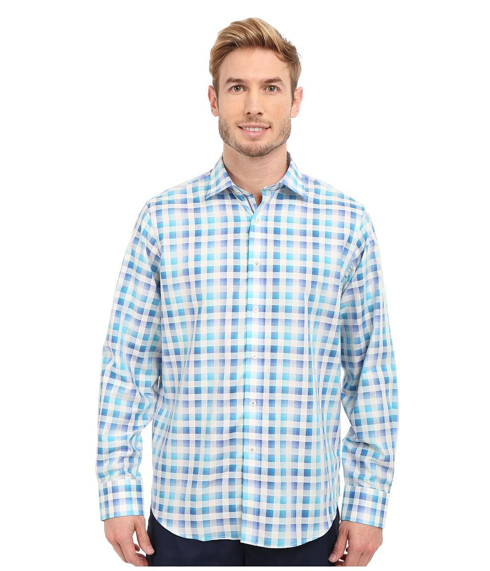 BUGATCHI - Amalfi Classic Fit Long Sleeve Woven Shirt (Teal) Men's Long Sleeve Button Up