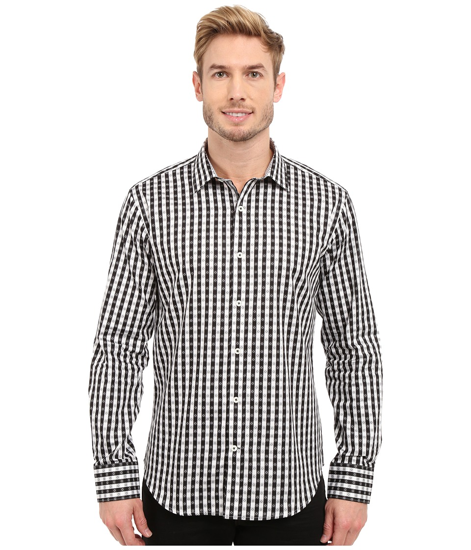 BUGATCHI - Modena Shaped Fit Long Sleeve Woven Shirt (Black) Men's Long Sleeve Button Up