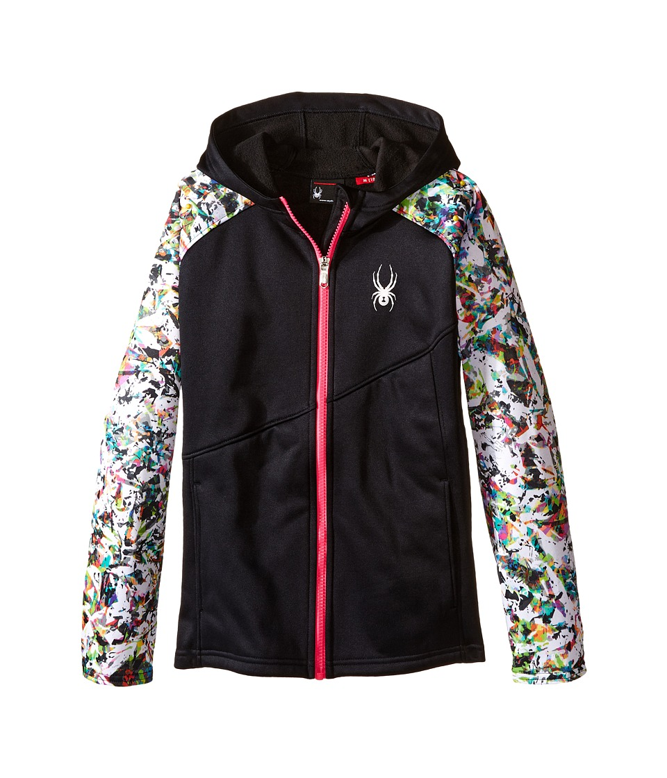 Spyder Kids - Crush Hoody Fleece Jacket (Little Kids/Big Kids) (Black/Kaleidoscope/White/Voila) Girl's Coat