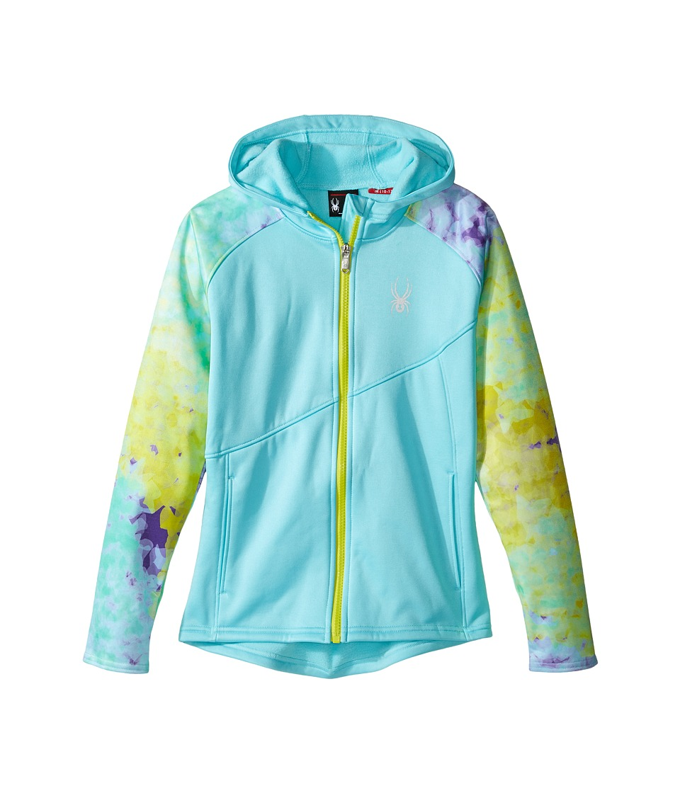 Spyder Kids - Crush Hoody Fleece Jacket (Little Kids/Big Kids) (Freeze/Morning Sky Acid/Acid) Girl's Coat