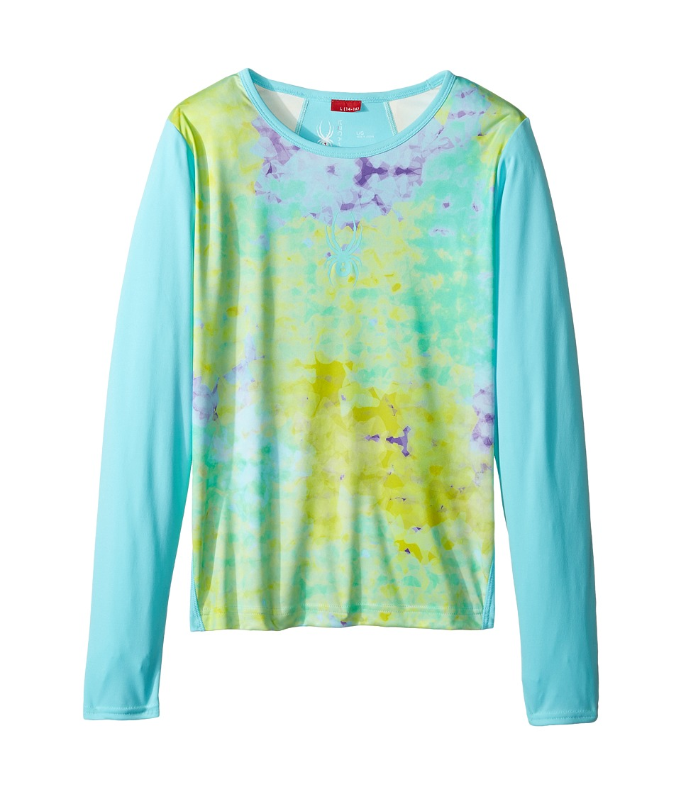 Spyder Kids - Lively Long Sleeve Tech Tee (Little Kids/Big Kids) (Morning Sky Acid/Freeze) Girl's Long Sleeve Pullover