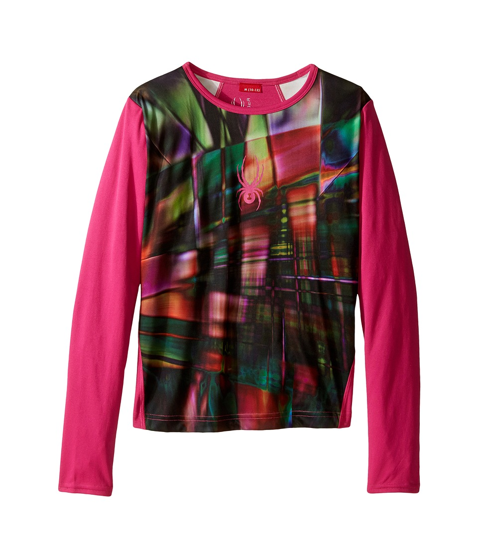Spyder Kids - Lively Long Sleeve Tech Tee (Little Kids/Big Kids) (Spectra Black/Voila) Girl's Long Sleeve Pullover