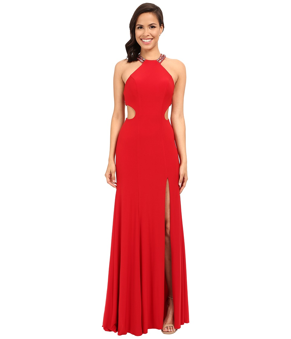 Faviana - Jersey Scoop Neck w/ Beaded Back Detail 7543 (Red) Women's Dress