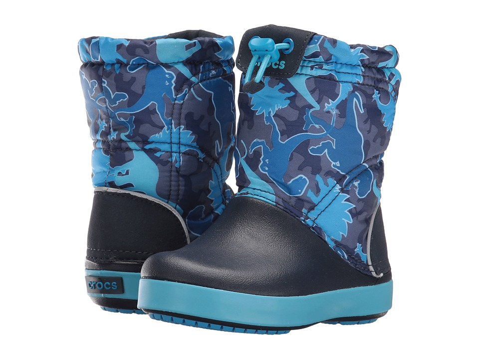 Crocs Kids - Crocband Lodge Point Graphic Boot (Toddler/Little Kid) (Blue Camo) Kids Shoes