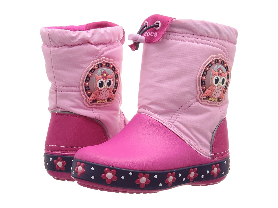 Crocs Kids - CrocsLights Lodge Point Night Owl Boot (Toddler/Little Kid) (Party Pink/Candy Pink) Girls Shoes