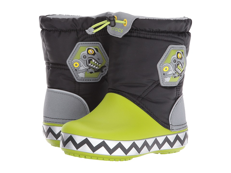 Crocs Kids - CrocsLights Lodge Point Boot (Toddler/Little Kid) (Black/Volt Green) Kids Shoes