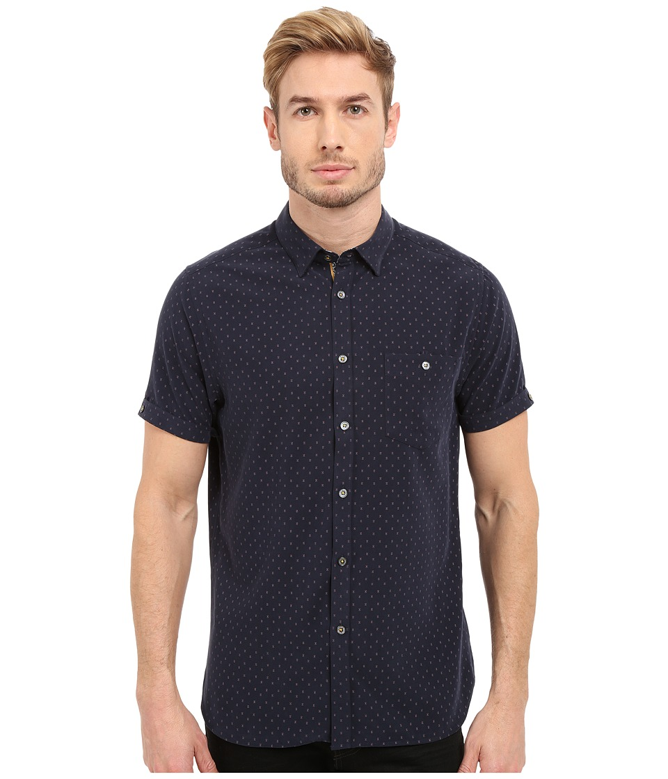 Ted Baker - Everyone Short Sleeve Modal Shirt (Navy) Men's Clothing