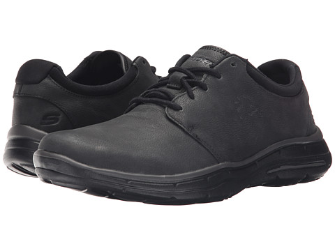 SKECHERS - Relaxed Fit Glides - Erwin (Black Leather) Men