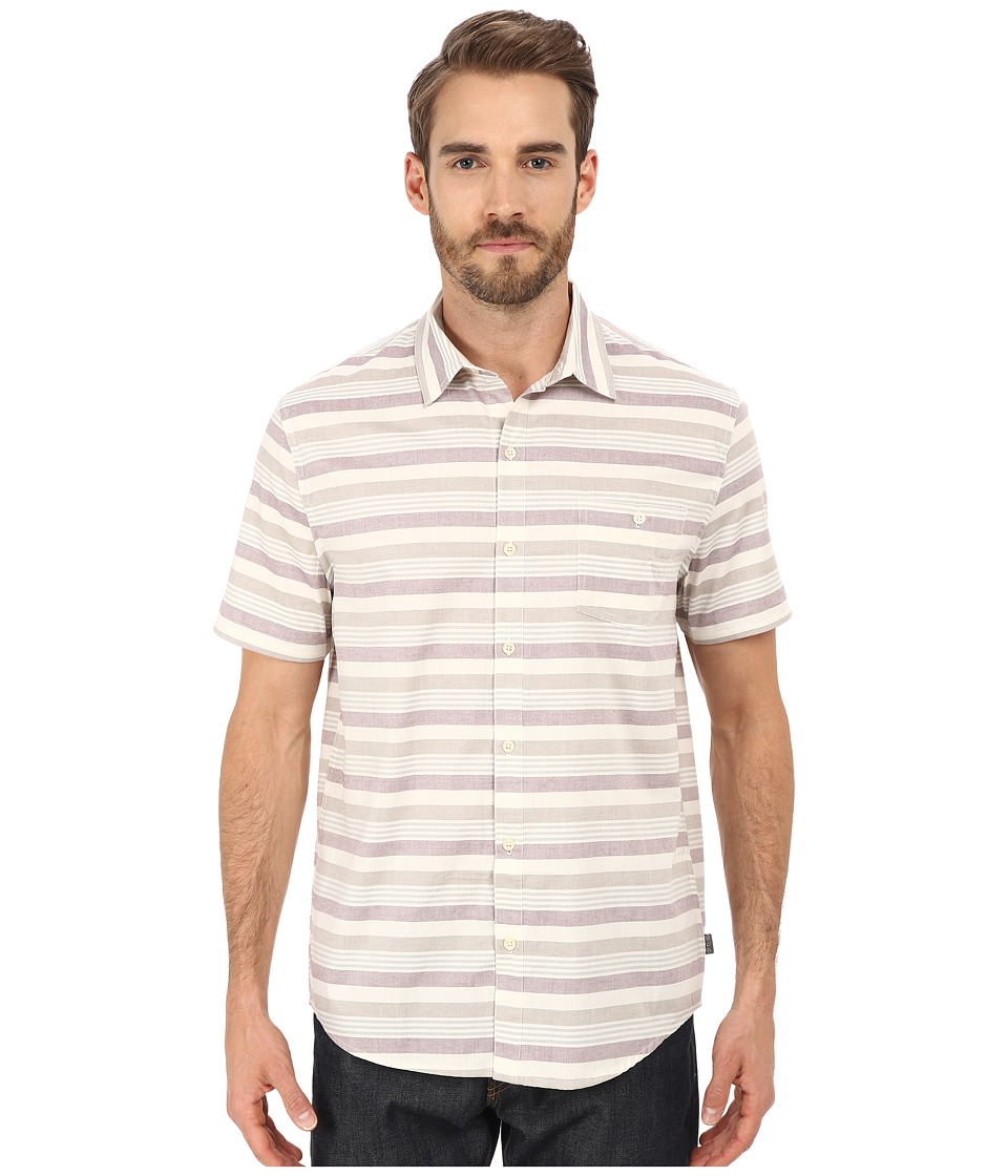 Threads 4 Thought - The Mesa Short Sleeve Woven (White/Purple) Men's Short Sleeve Button Up