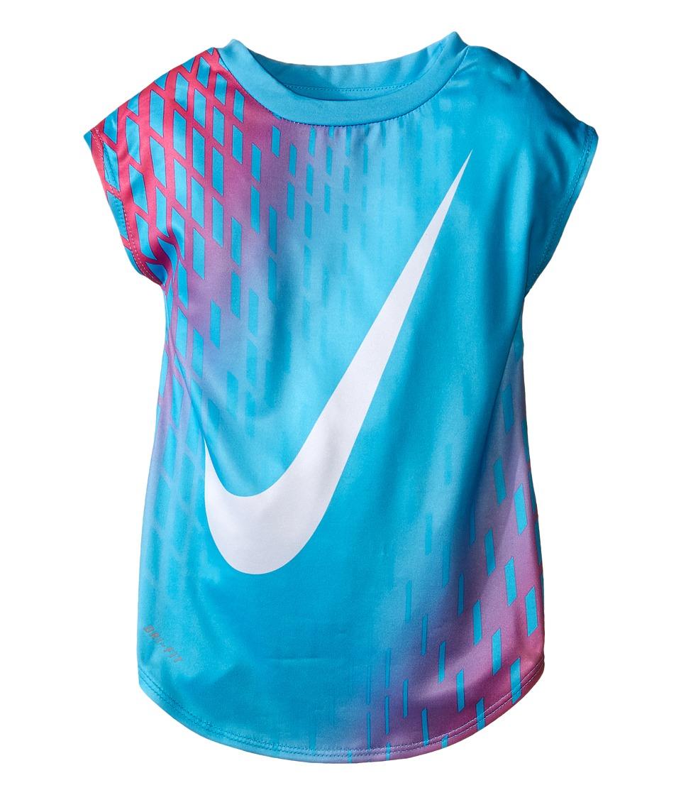 Nike Kids - Swoosh Gradient Dri-FIT Tee (Toddler) (Gamma Blue) Girl's T Shirt