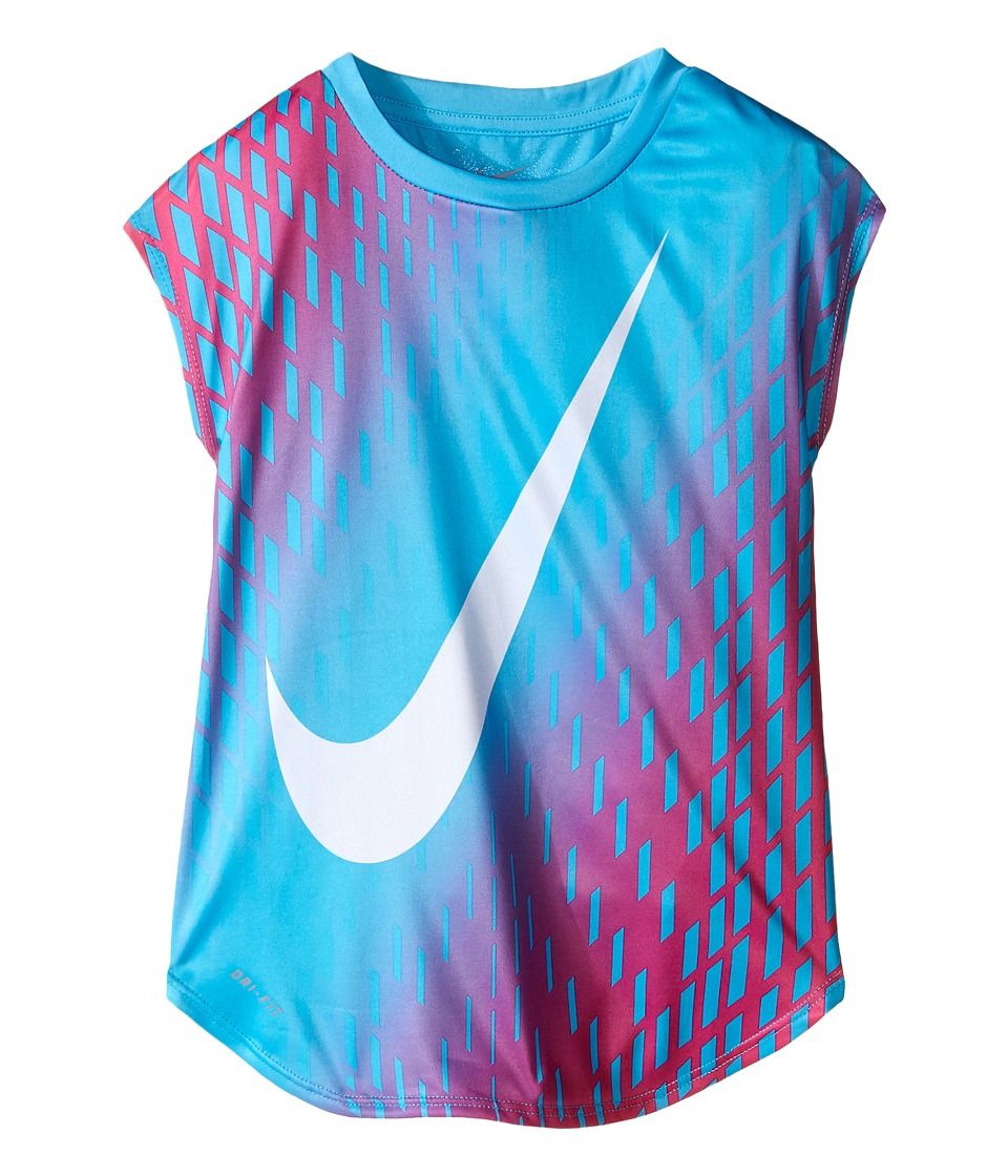 Nike Kids - Swoosh Gradient Dri-FIT Tee (Little Kids) (Gamma Blue) Girl's T Shirt