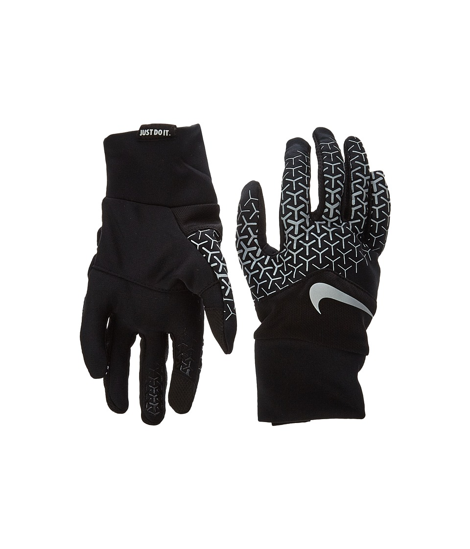 Nike - Printed Dri-Fit Tempo 360 Run Gloves (Black/Silver) Athletic Sports Equipment