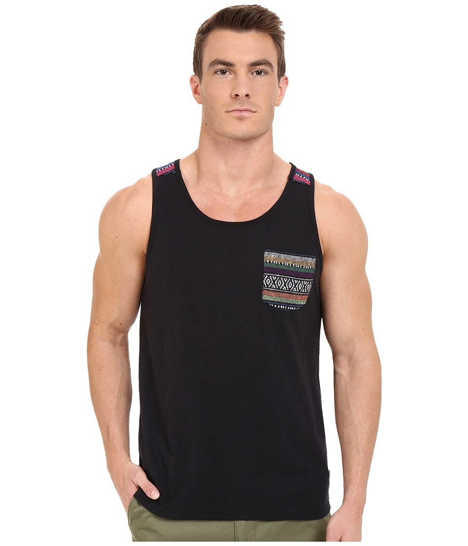 Threads 4 Thought - Baja Jaquard Pocket Tank Top (Raven) Men's Sleeveless