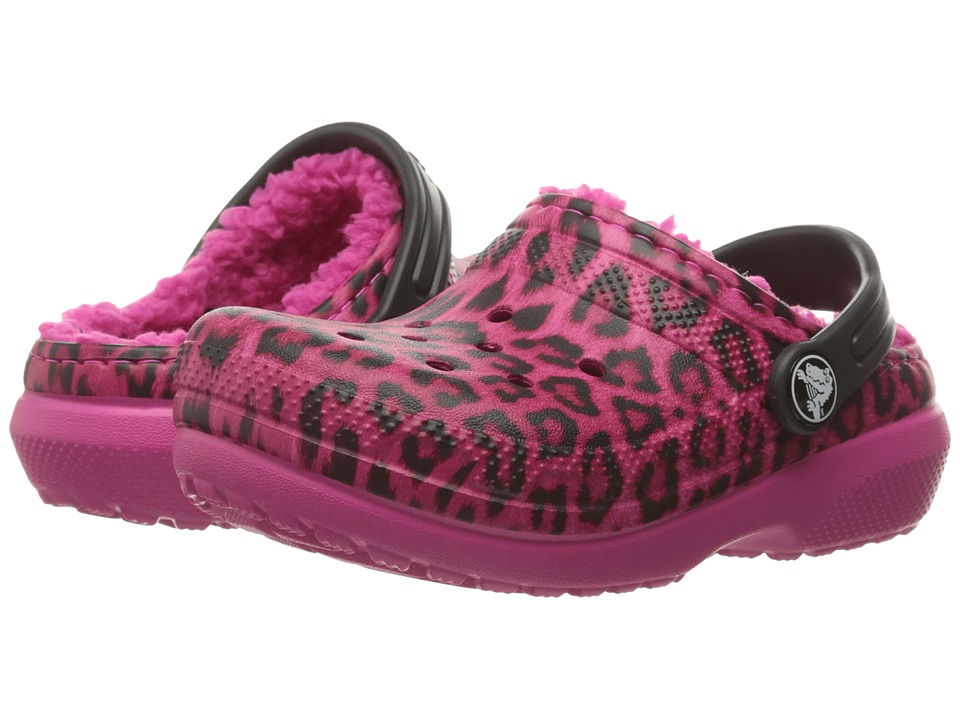 Crocs Kids Classic Lined Graphic Clog (Toddler/Little Kid) (Pink/Leopard) Girls Shoes