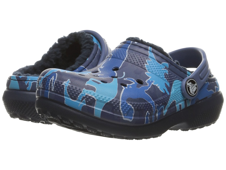 Crocs Kids - Classic Lined Graphic Clog (Toddler/Little Kid) (Blue Camo) Kids Shoes