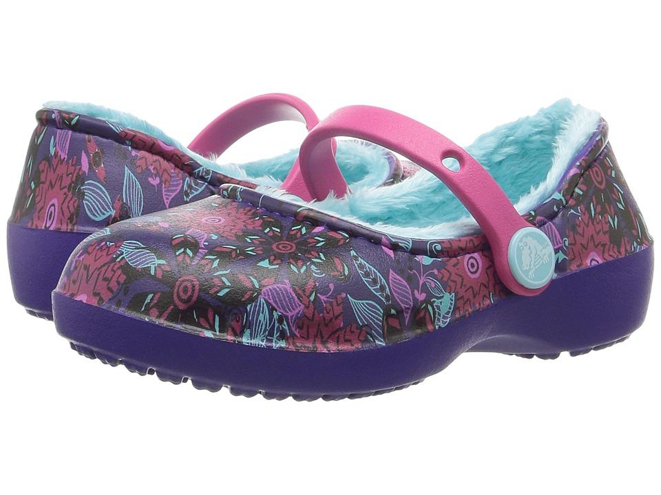 Crocs Kids Karin Graphic Lined Clog (Toddler/Little Kid) (Flowers) Girls Shoes