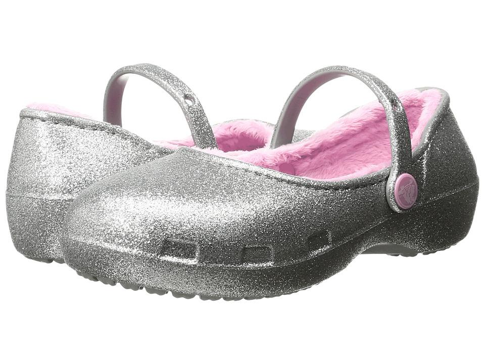 Crocs Kids Karin Sparkle Lined Clog (Toddler/Little Kid) (Silver) Girls Shoes