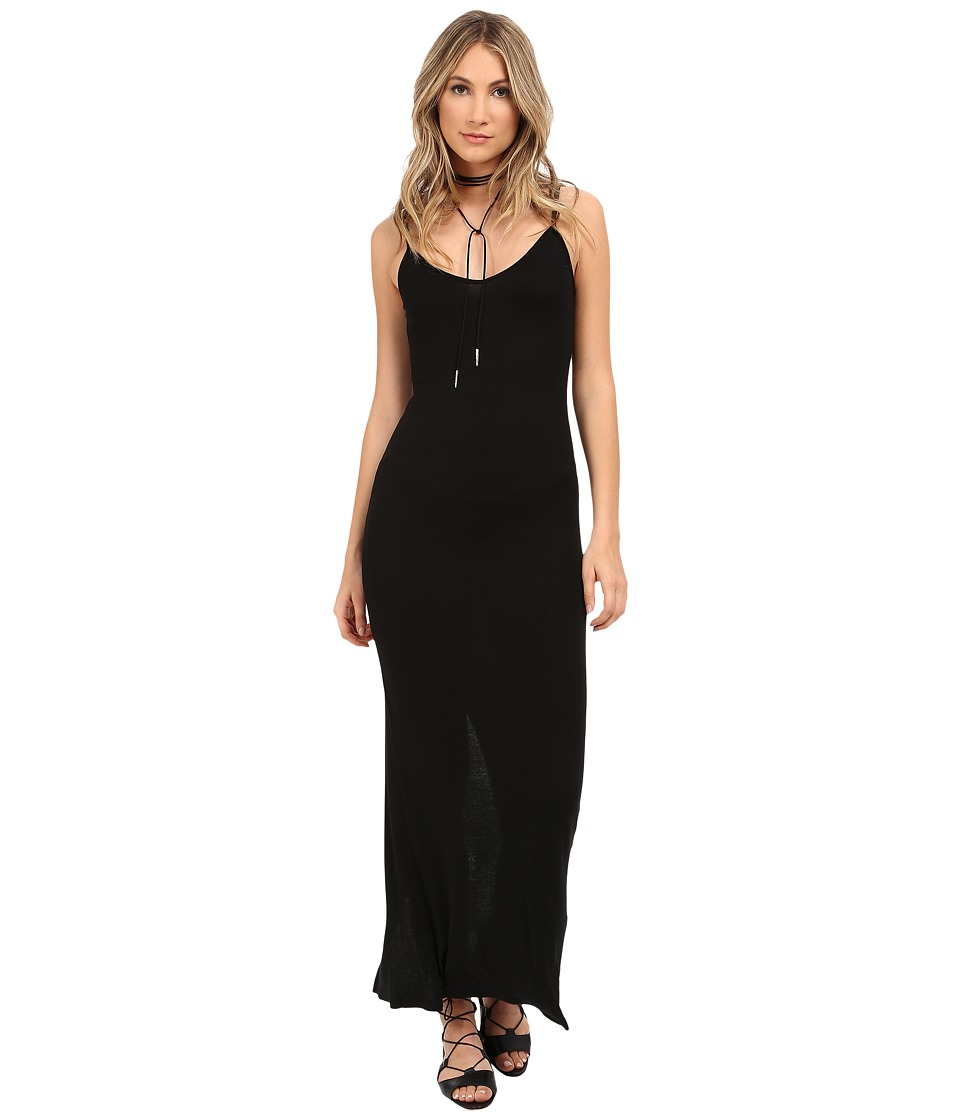 HEATHER - Rib Slit Back Maxi Dress (Black) Women