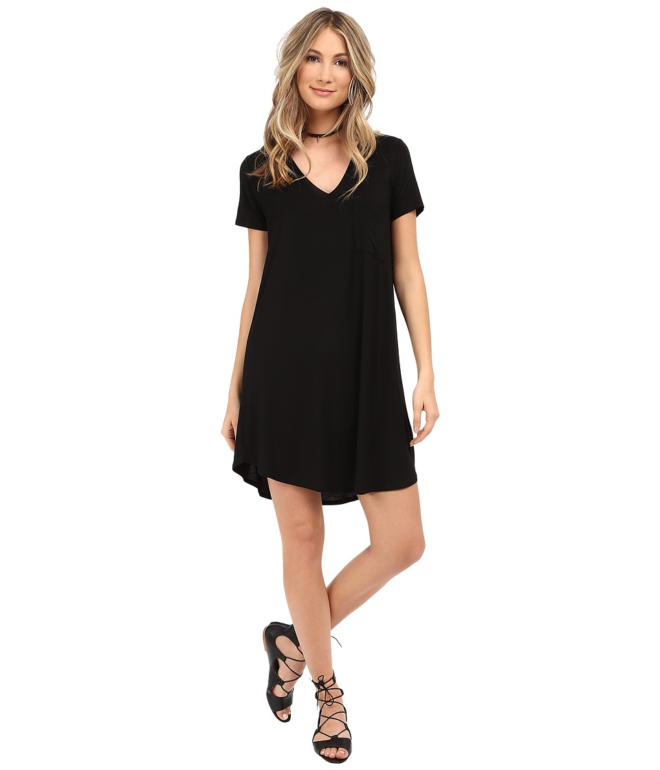 HEATHER - V-Neck Pocket Tee Dress (Black) Women's Dress