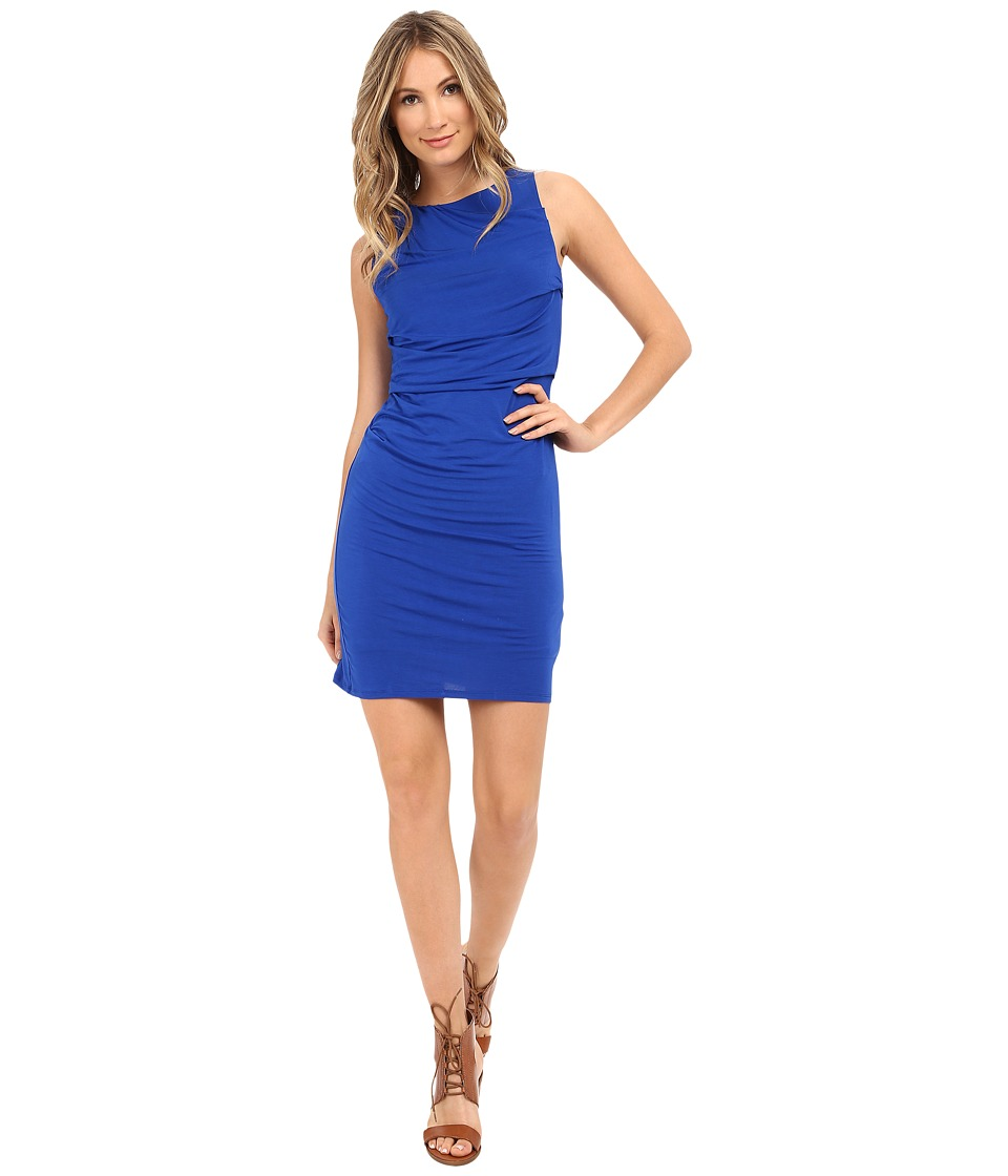 HEATHER - Drape Front Dress (Cobalt) Women's Dress