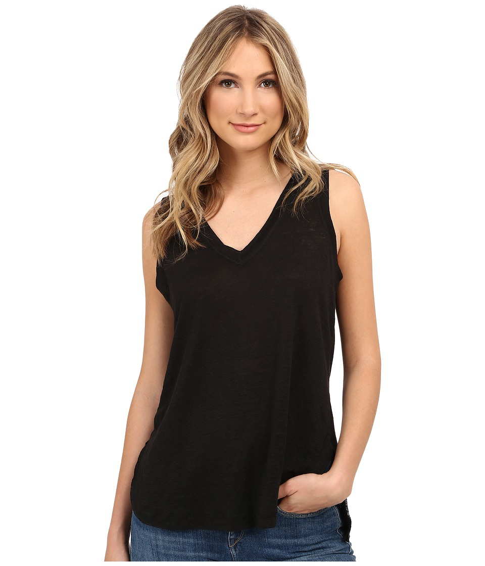 HEATHER - Linen V-Neck Tank Top (Black) Women's Sleeveless