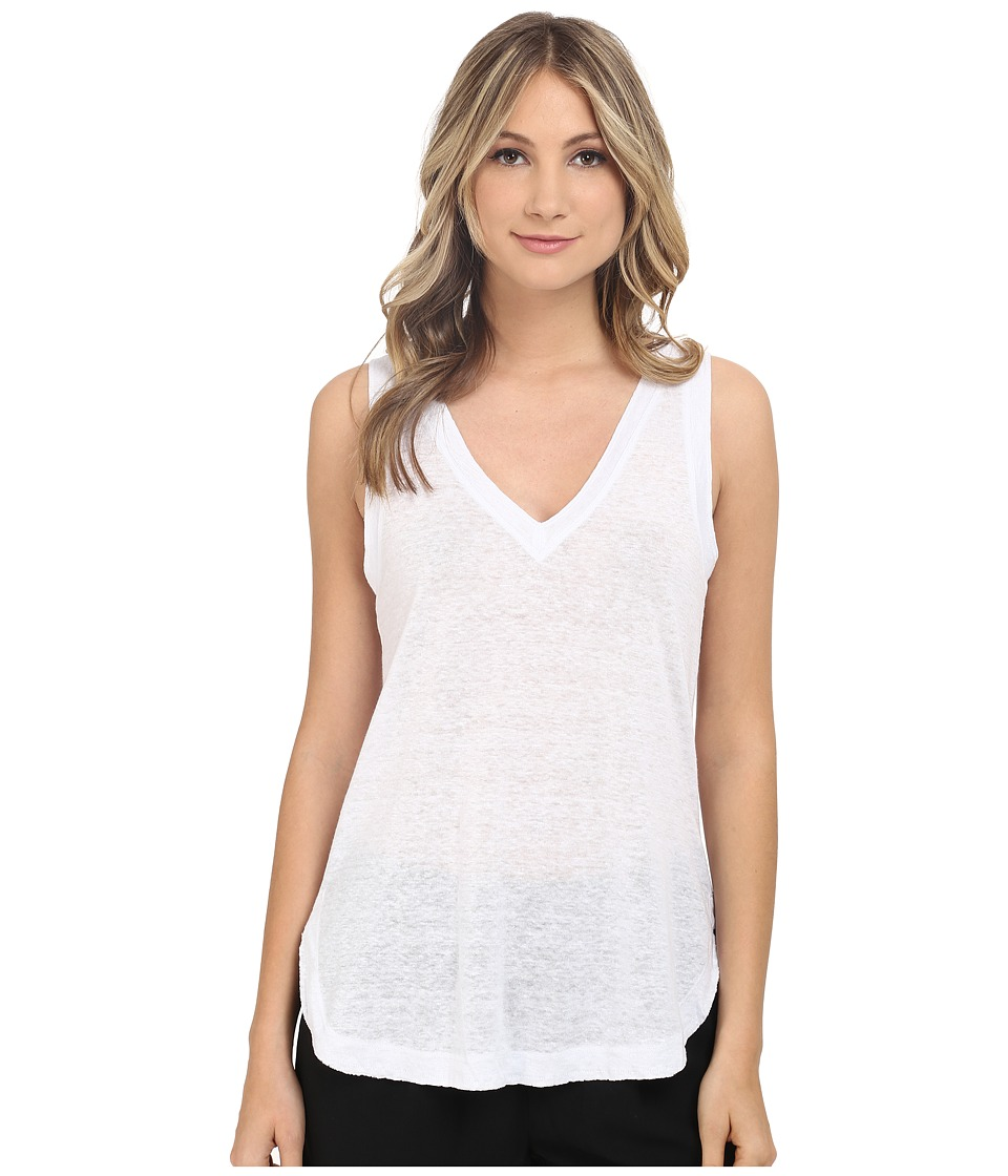 HEATHER - Linen V-Neck Tank Top (White) Women's Sleeveless