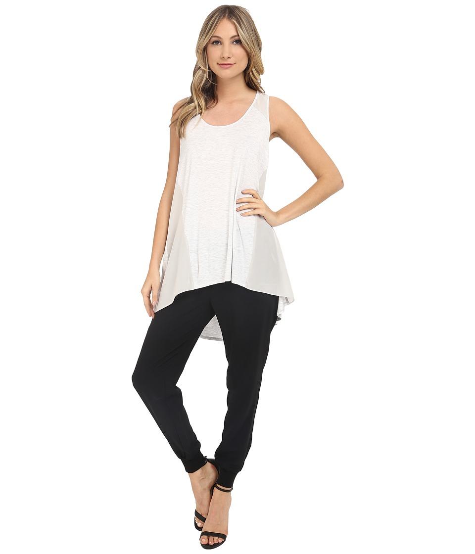 HEATHER - Silk Panel Tank Top (White) Women's Sleeveless