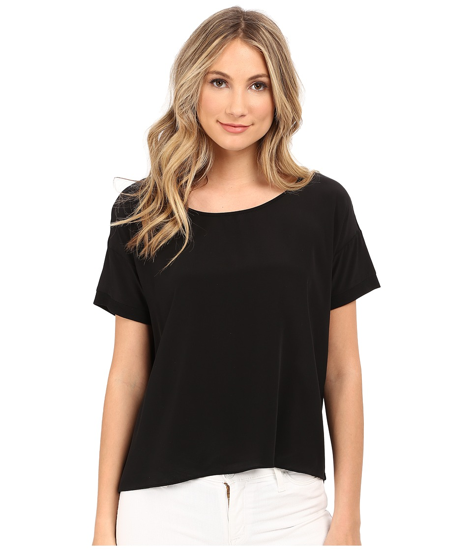 HEATHER - Silk Front Tee (Black) Women's Short Sleeve Pullover