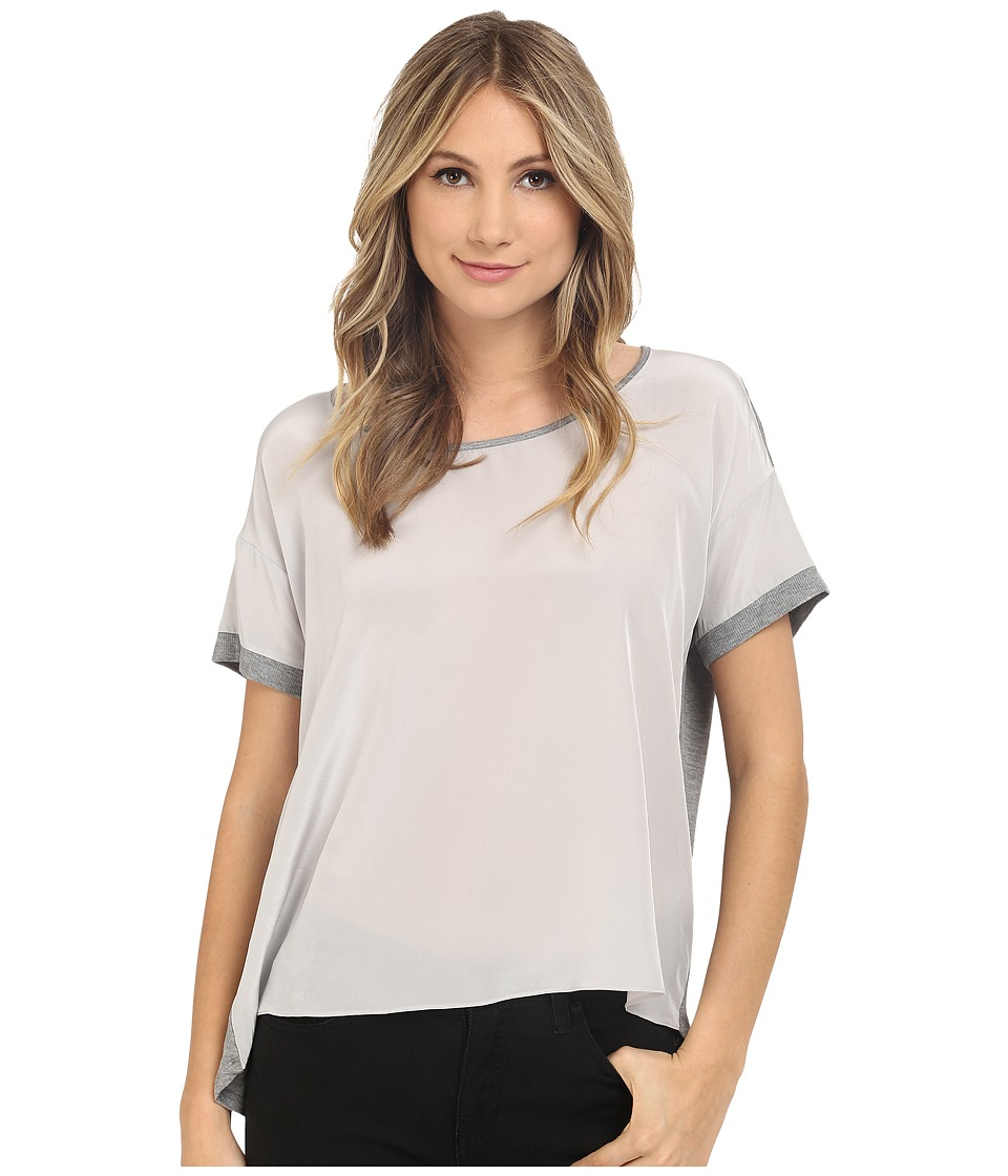 HEATHER - Silk Front Tee (Heather Grey) Women's Short Sleeve Pullover