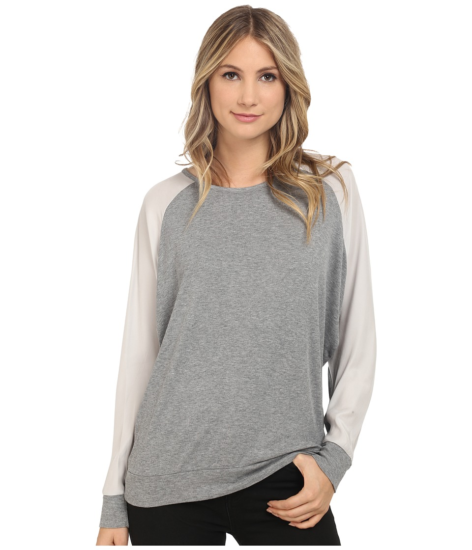 HEATHER - Silk Sleeve Raglan Top (Heather Grey) Women's Long Sleeve Pullover