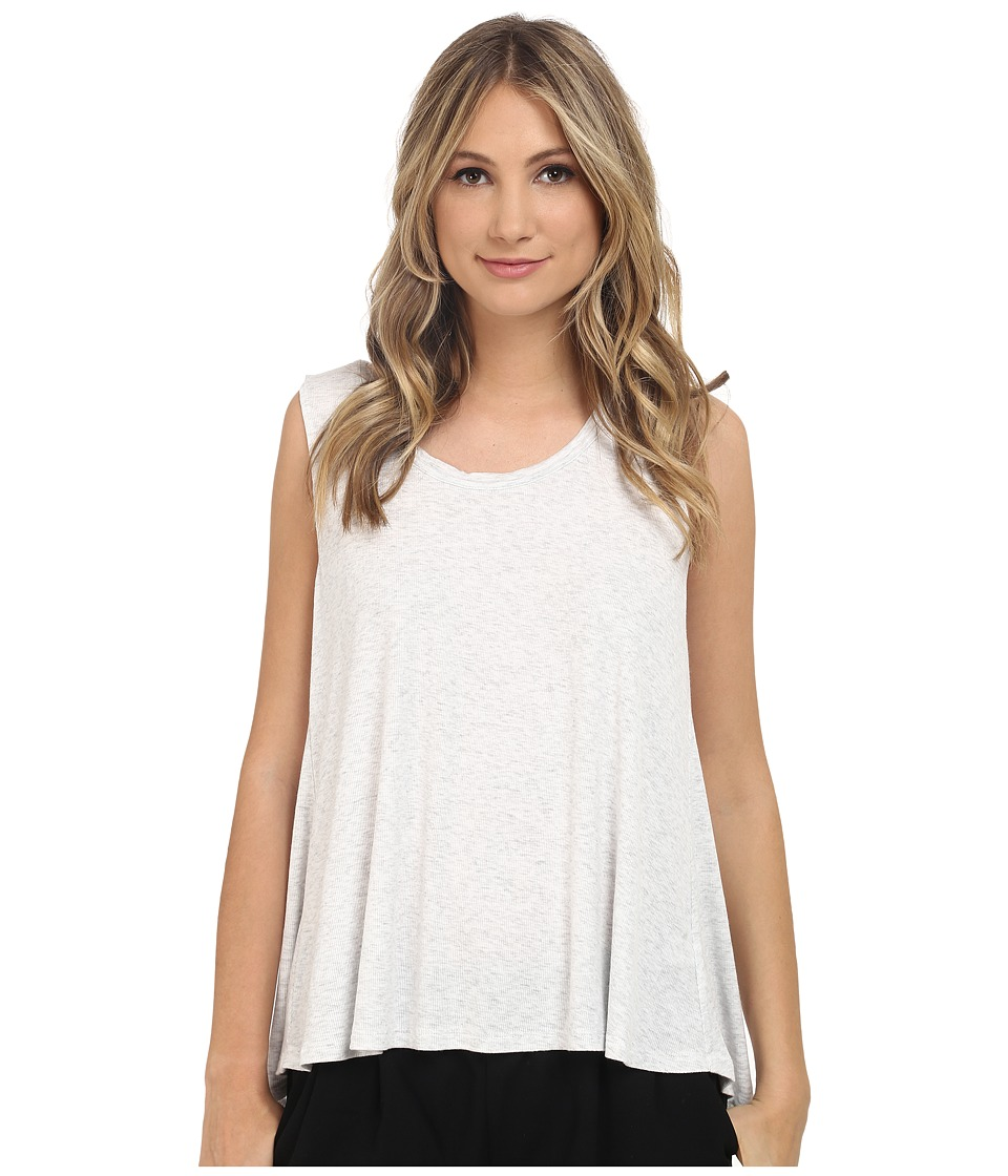 HEATHER - Scoop Neck Boxy Tee (Heather White) Women's Short Sleeve Pullover