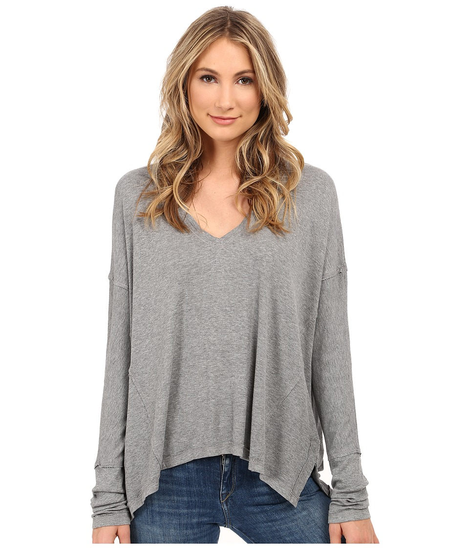 HEATHER - Long Sleeve Boxy Top (Heather Grey) Women's Long Sleeve Pullover