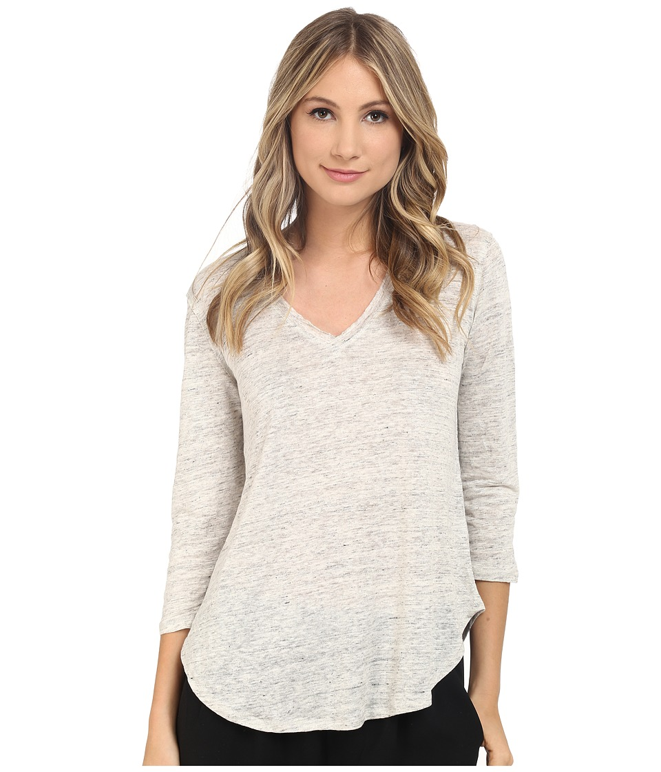 HEATHER - Linen 3/4 Sleeve Swing Tee (Heather White) Women's Long Sleeve Pullover