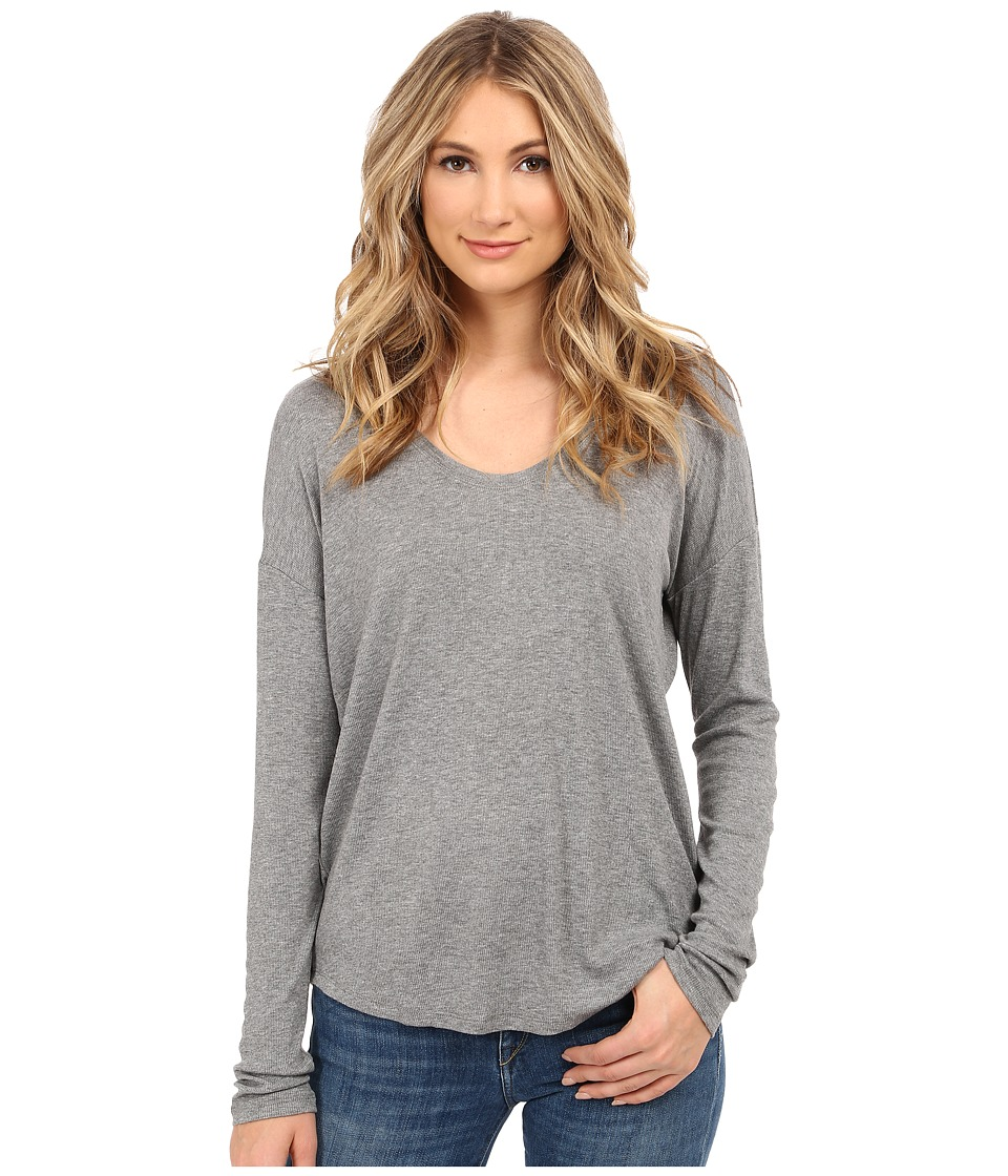 HEATHER - Long Sleeve Rib Shirt Tail Tee (Heather Grey) Women's Long Sleeve Pullover