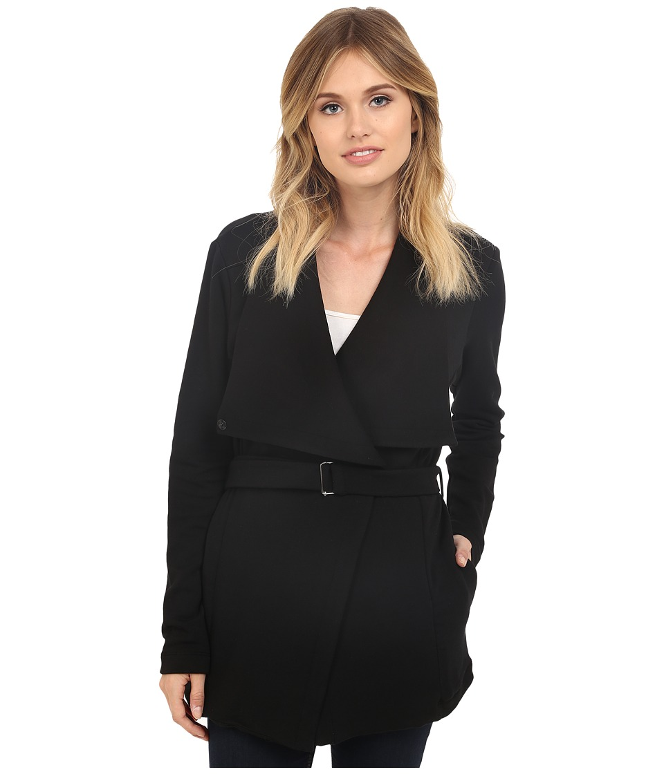 HEATHER - Belted Fleece Jacket (Black) Women's Coat