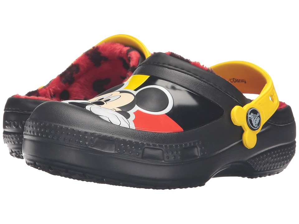 Crocs Kids - CC Mickey Lined Clog (Toddler/Little Kid) (Black) Kids Shoes