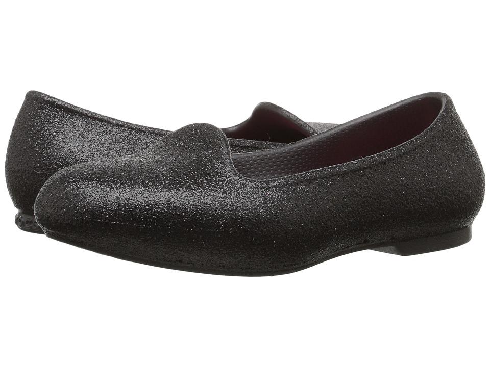 Crocs Kids Eve Sparkle Flat (Toddler/Little Kid) (Black) Girls Shoes