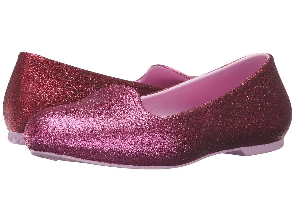 Crocs Kids Eve Sparkle Flat (Toddler/Little Kid) (Party Pink) Girls Shoes