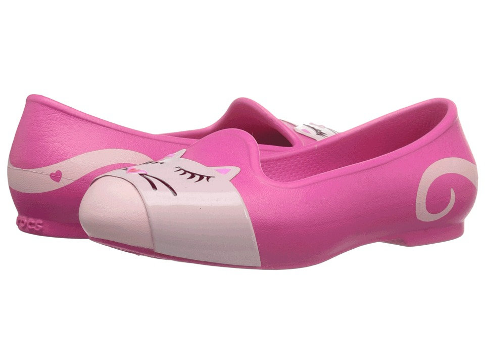 Crocs Kids - Eve Animal Flat (Toddler/Little Kid) (Candy Pink) Girls Shoes