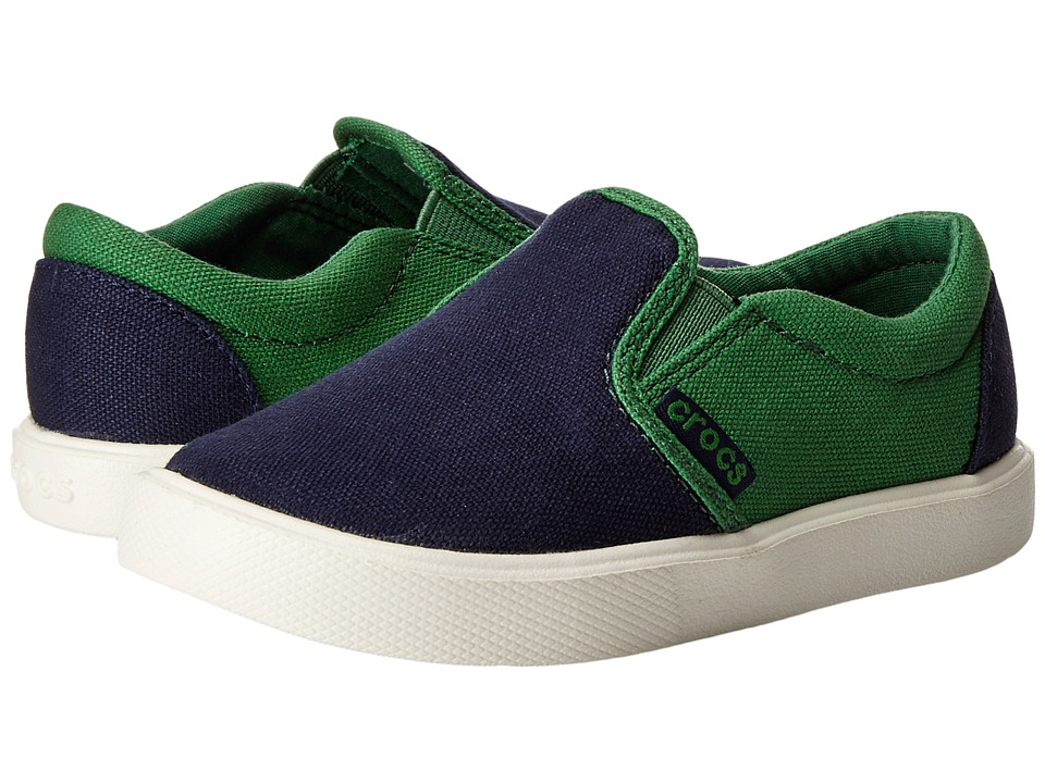 Crocs Kids - CitiLane Novelty Slip-On Sneaker (Toddler/Little Kid) (Navy/Kelly Green) Boys Shoes