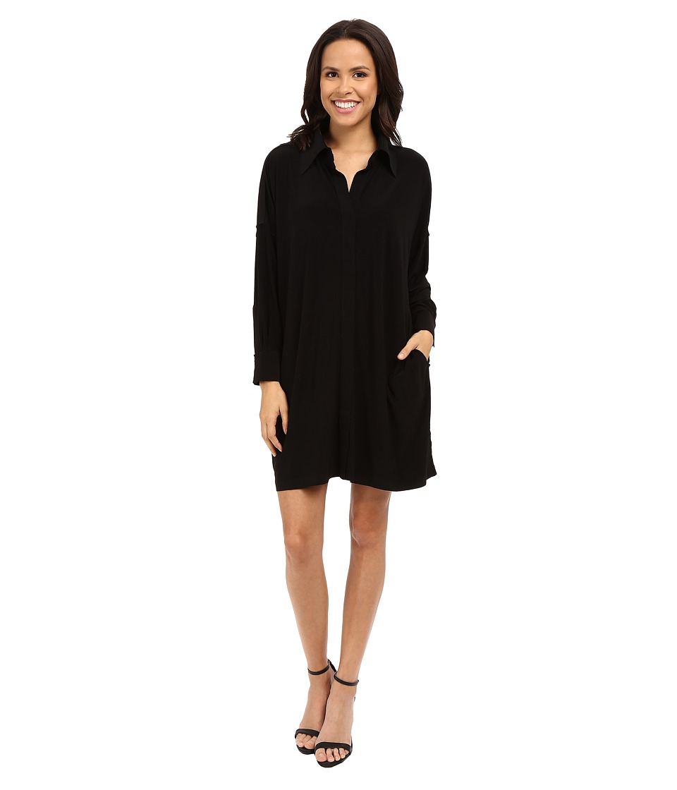 KAMALIKULTURE by Norma Kamali - NK Box Shirt to Knee (Black) Women's Dress